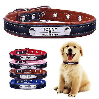 Airuidog Adjustable Personalized Dog Collar Leather Puppy Id Name Custom Engraved