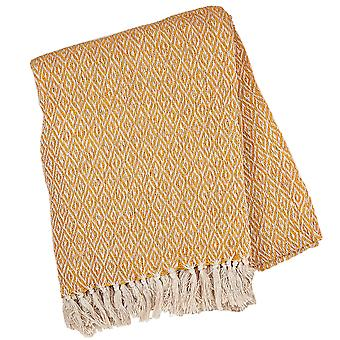 Sass & Belle Scandi Boho Mustard Blanket Throw