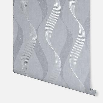 295503 - Luxe Ribbon Charcoal & Silver - Arthouse Wallpaper
