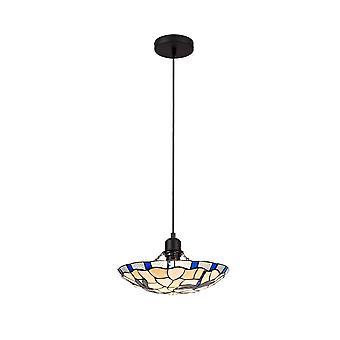 Éclairage Luminosa - 1 pendentif de plafond léger E27 avec 35cm Tiffany Shade, Rouge, Cristal clair, Noir