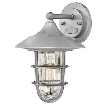 Elstead Marina - 1 luz pequeña linterna de pared al aire libre plata IP44, E27