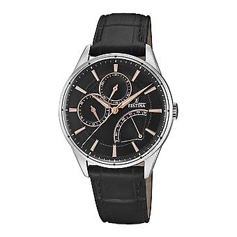 Festina chronograph watch for Analog Quartz Men with Cowhide Bracelet F16974/4