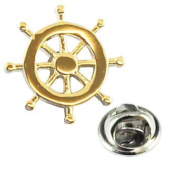 Ties Planet Gold schepen Wiel Revers Pin Badge