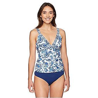 Brand - Coastal Blue Women's Swimwear V Neck Empire Waist Shirred Tankini Top