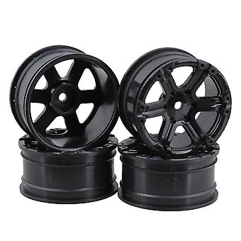 4pcs Zwart Plastic 6-Spaaks RC 1:10 Velgen voor Model On-road Racing Car