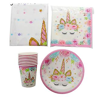 Unicorn Disposable Tableware  Decoration Kit