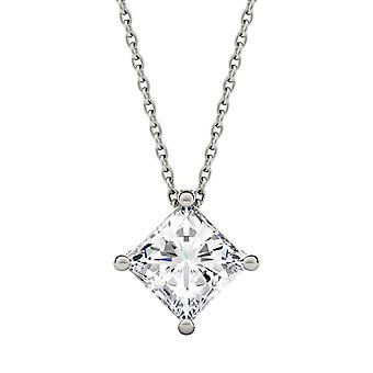 14K White Gold Moissanite by Charles & Colvard 4mm Square Solitaire Necklace, 0.41cttw DEW