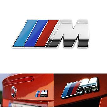 Silver Chrome BMW M Letters Rear Boot Lid Trunk Badge Emblem For E81 E82 E87 E88 F20 F21 F52 90mm x 30mm