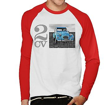 Citro?n 2CV Meadow Photo Men's Baseball Long Sleeved T-Shirt