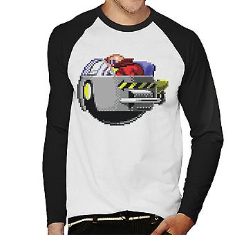 Sonic The Hedgehog Dr Robotnik Pikselöity Craft Men's Baseball Pitkähihainen T-paita