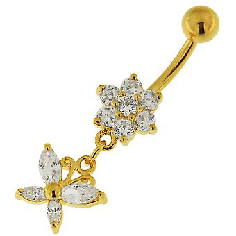 3 Micron 18K Yellow Gold Plated Clear CZ Stone Flower with Butterfly Design Dangling Sterling Silver Belly Bars Piercing