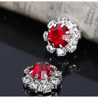 10 Small Round Red & Diamante Embellishments Large Red Centre stone Rhinestone 12mm