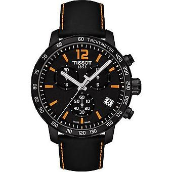 Tissot T095.417.36.057.00 Quickster Chronograph Black Dial Black Leather Men's Watch