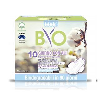Day Absorbents with Wings Cotton - Bio Compostable Cover 10 units