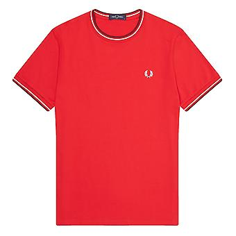 Fred Perry Twin T-Shirt Tipped T Shirt Rot