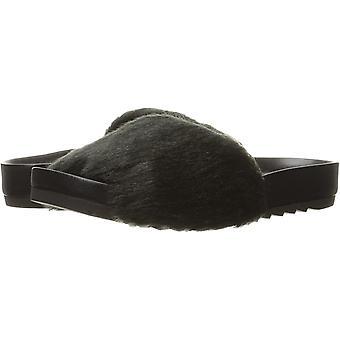Brand - The Fix Women's Ursula Faux Fur Slide Sandal, Black, 6.5 B US