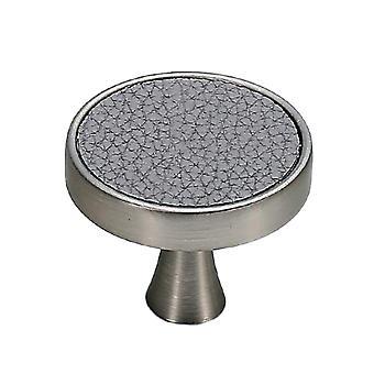 Cabinet Hardware Knob Single Hole Round Drawer Handle Gray Leather Pattern Large