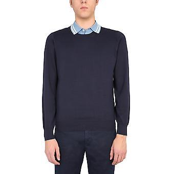 Brunello Cucinelli M2900100cw425 Hombres's suéter de algodón azul