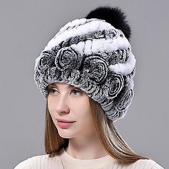 المرأة محبوك الفول الأرنب الصوف بطانة فوكس الفراء بومبوم قبعة الشتاء الدافئة