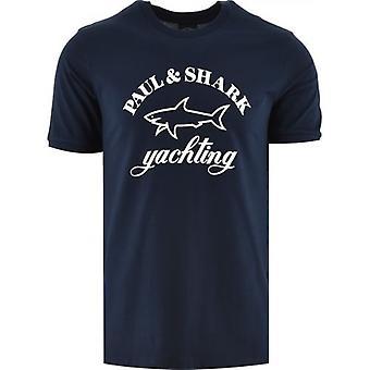 Paul & Shark Blue Knitted Logo T-Shirt