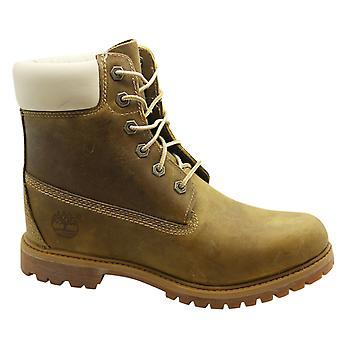 Timberland 6 tommers premium kvinners støvler snøre opp skinn lysebrun 8229A B75E
