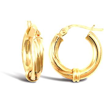 Jewelco London Ladies 9ct Yellow Gold Half and Half Twisted Collar 3mm Hoop Boucles d'oreilles 16mm