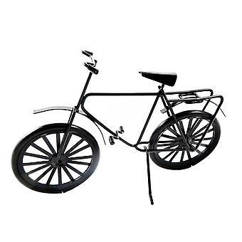 Dolls House Dorośli Czarny rower rowerowy z bagażnikiem Miniaturowe akcesorium
