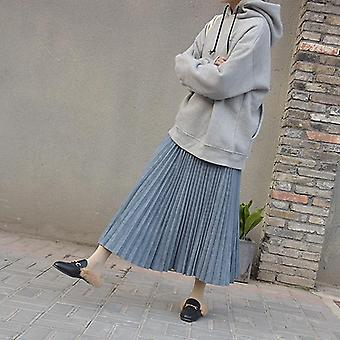 Two Layer Spring Women Suede Skirt Long Pleated Skirts