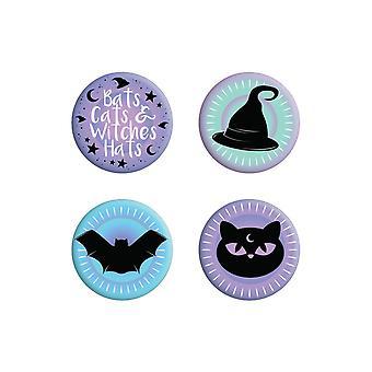 Grindstore Bats Kissat ja noidat Hatut Pastelli Goth Badge Set (Pakkaus 4)