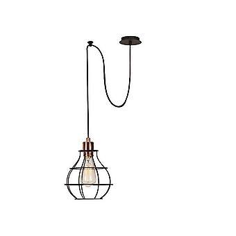 Trådfall hänge lampa kopparfärg, koppar svart, elektrostatisk färg, L100xP20xA113 cm