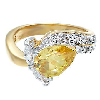 Graceful Twist Two Tone Yellow Pear Shape Stone Ring