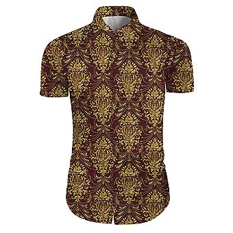 Allthemen Men's Burgundy Floral Shirts Short Sleeve Casual Button Down Shirts
