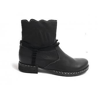 Женская обувь Байкер Сапоги Clocharme кожаный цвет черный с молнией D18cc07