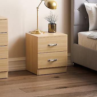 Riano 2 Drawer Bedside Chest Cabinet, Pine