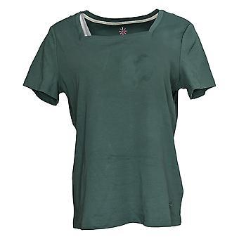 Isaac Mizrahi Live! Women's Top Cotton Square Neck T-Shirt Green A387112