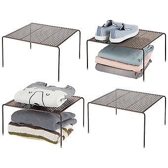 mDesign Metal Stackable Closet Storage Organizer Shelf, 4 Pack - Bronze