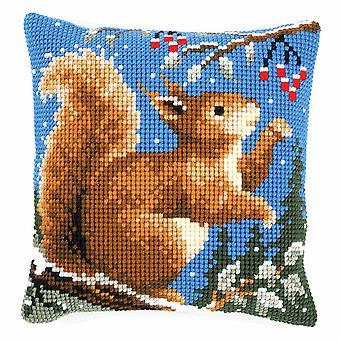 Vervaco Cross Stitch Kit: Poduszka: Wiewiórka w zimie