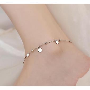 Sterling Silver Charming Disc Chain Anklet Bracelet