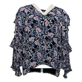 Vince Camuto Women's Tiered Ruffle Long-Slv Floral Blouse Blue A365172