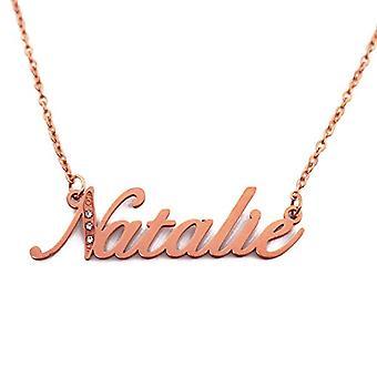 Kigu Natalie - Anpassningsbart namn halsband med kubiska zirkoner, rosenguld pläterad, anpassningsbar