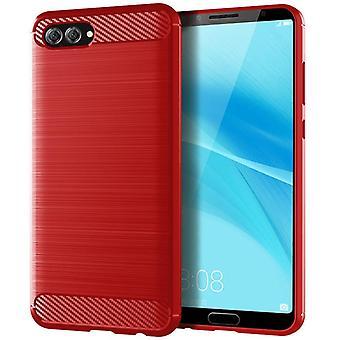 Tpu carbon fiber hoesje voor huawei nova 2s red mfkj-443