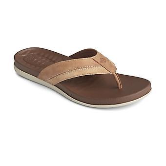 Sperry Plushwave Flip Flop Mens Leather Sandals Tan