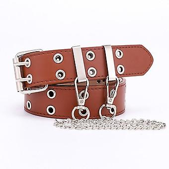 Women Punk Chain Belt Metal Buckle Leather Waistband For Jeans