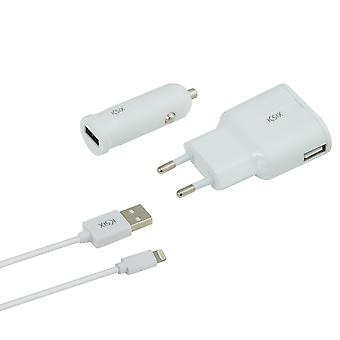Ksix - Charge pack - Charger, car charger and lightning USB Cable - White