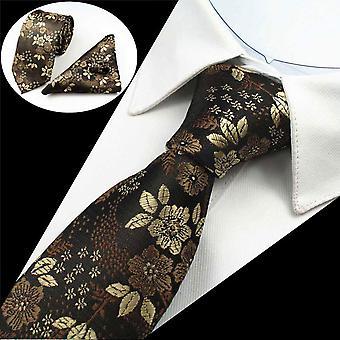 Flores de tres piezas tie manguito enlace & bolsillo cuadrado de bronce