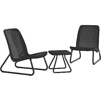 Tuinmeubel set rattan look – grafiet – 2 stoelen + salontafel