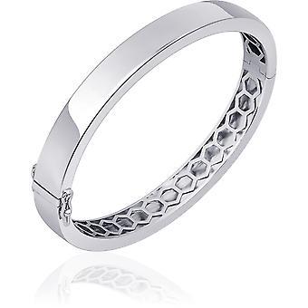 Gisser Jewels - Armband - Bangle Flat Polished - 8mm Bred - Storlek 60 - Gerhodineerd Zilver 925