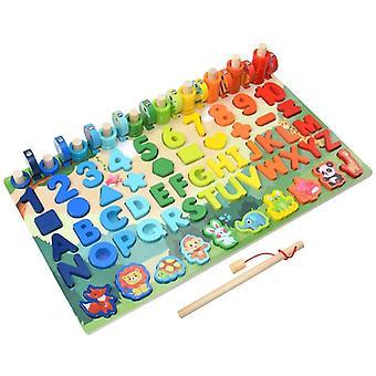 Educational Wooden Toys Children Busy Board Math Fishing Children's Wooden Preschool Toy  Toys
