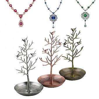 Vintage Bird Tree Jewelry Earrings Ring Stand Holder Show Rack Necklace Display