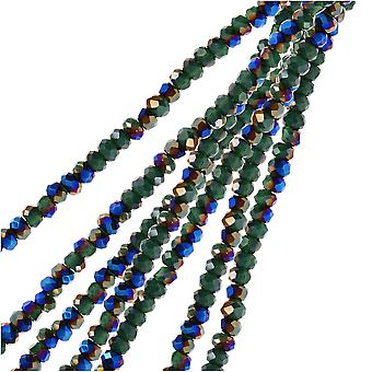 Crystal Beads, Faceted Rondelle 1.5x2.5mm, 2 Strands, Opaque Dark Green w/Half Blue Iris